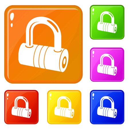 Big padlock icons set vector color
