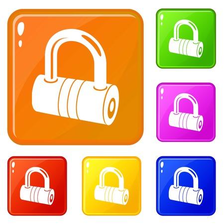 Big padlock icons set vector color
