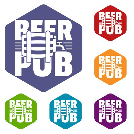 Beer pub icons vector hexahedron