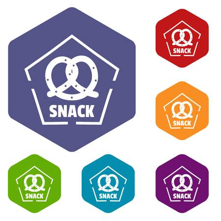 Snack icons vector hexahedron