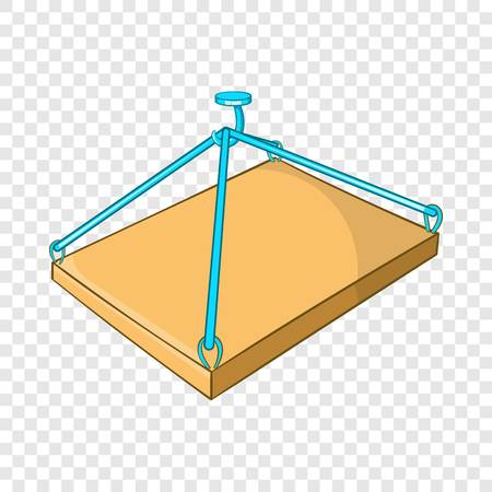 Construction crane with platform icon in cartoon style isolated on background for any web design