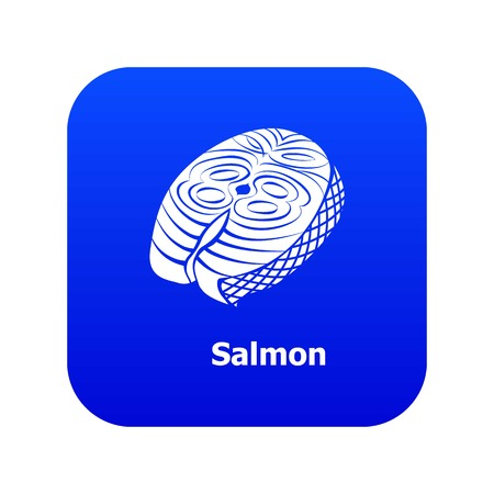 Salmon icon blue vector isolated on white background