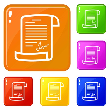 Agreement icons set vector color