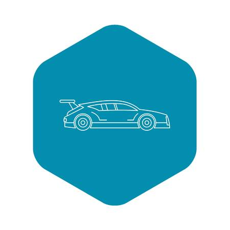 Racing car icon, outline style Illustration