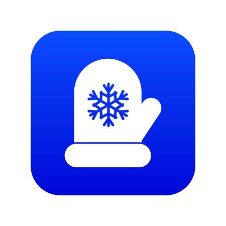Mitten with white snowflake icon digital blue for any design isolated on white vector illustration