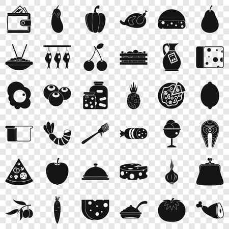 Cooking coffee icons set, simple style