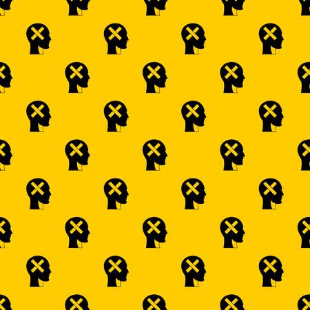 Human head with cross inside pattern seamless vector repeat geometric yellow for any design