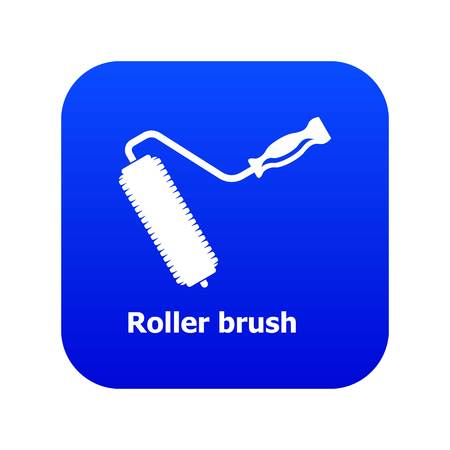Roller brush icon blue vector isolated on white background Ilustração