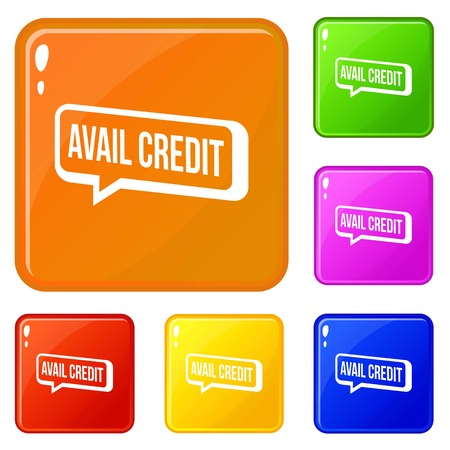 Avail credit icons set vector color Illustration