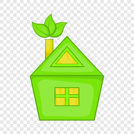 Eco house icon, cartoon style  イラスト・ベクター素材