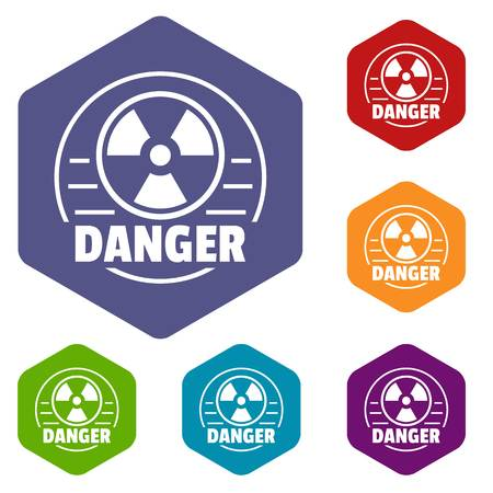 Radiation icons vector hexahedron