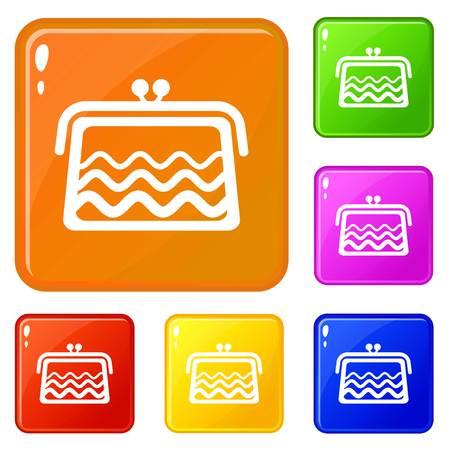 Wallet icons set vector color