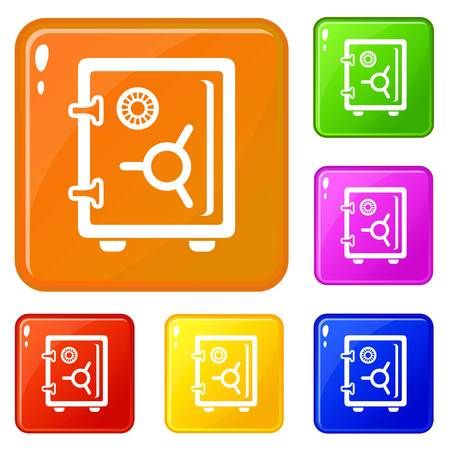 Safe icons set vector color