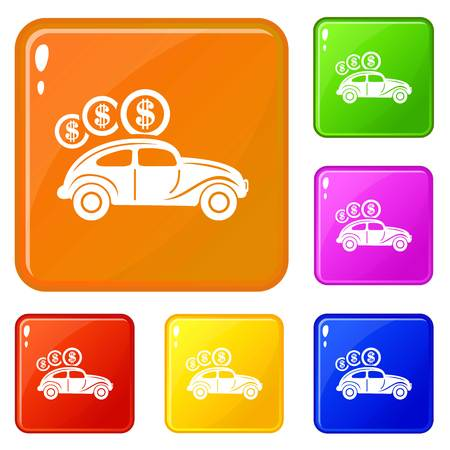 Car on credit icons set vector color