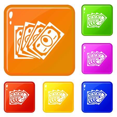 Money icons set vector color
