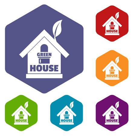 Green house icons vector hexahedron