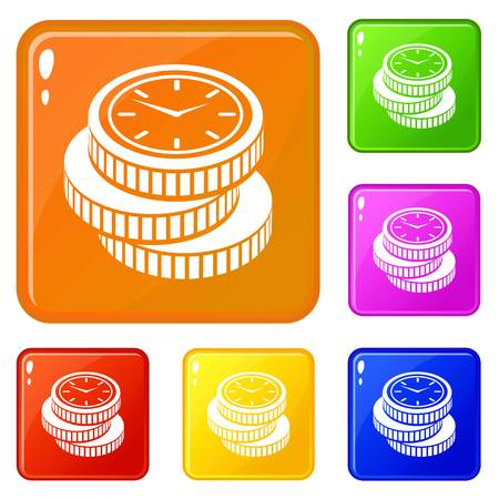 Coin icons set vector color