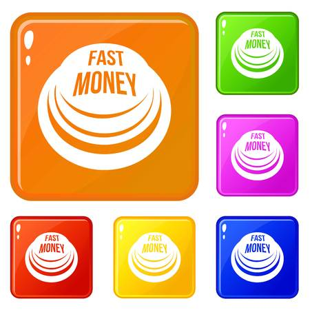 Fast money button icons set vector color Stock Vector - 121792176