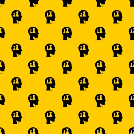 Head with queen and pawn chess pattern seamless vector repeat geometric yellow for any design