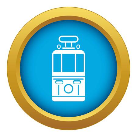 Tram front view icon blue vector isolated on white background for any design