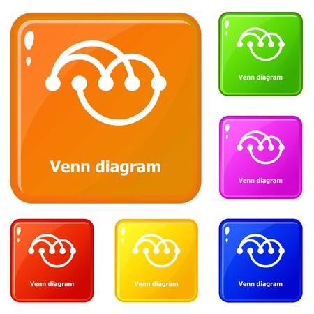 Venn diagramm icons set vector color