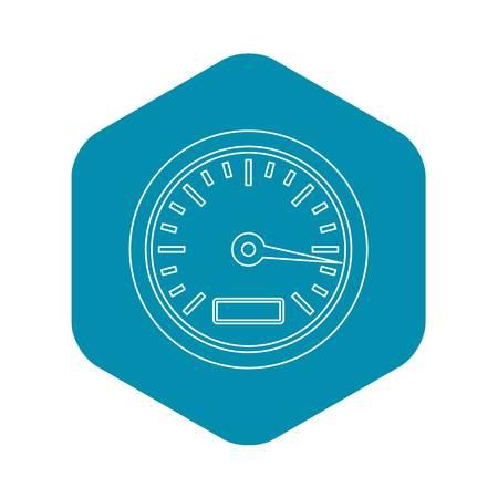 Speedometer or gauge icon. Outline illustration of speedometer or gauge vector icon for web