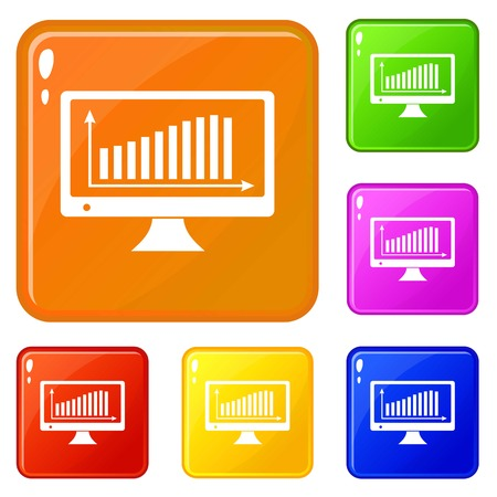 Graph on the monitor icons set vector color Illustration