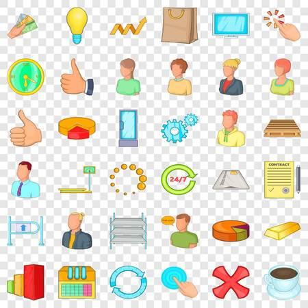 Finance corporation icons set, cartoon style