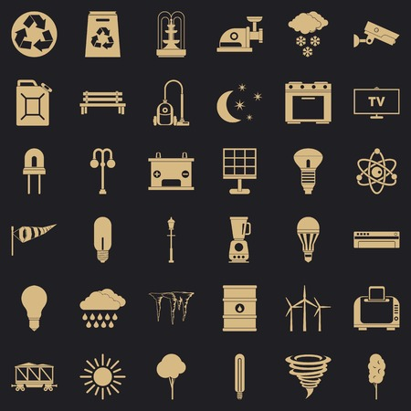 Windmill icons set, simple style