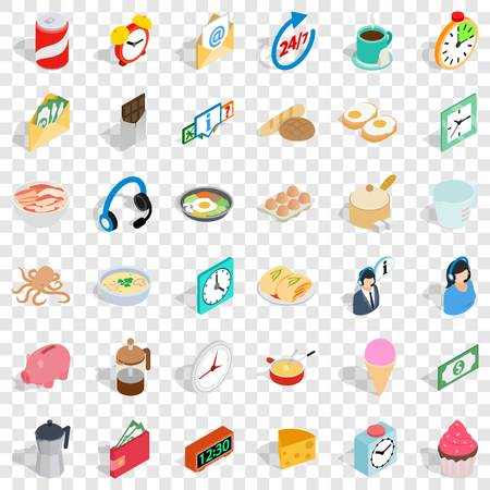 Cooking food icons set, isometric style