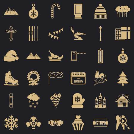 Winter holiday icons set, simple style Illustration