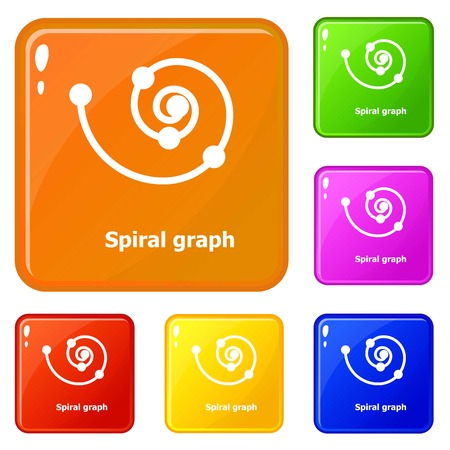Spiral graph icons set vector color  イラスト・ベクター素材