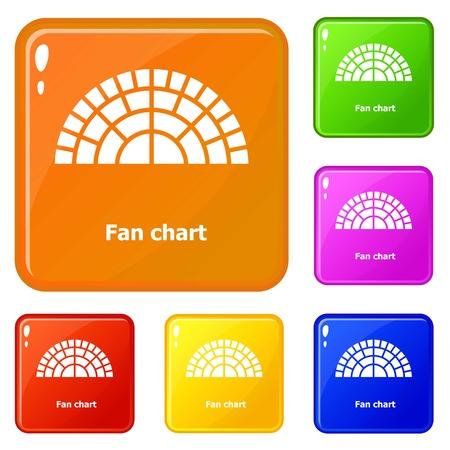Fan chart icons set vector color