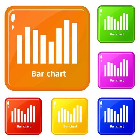 Bar chart icons set vector color