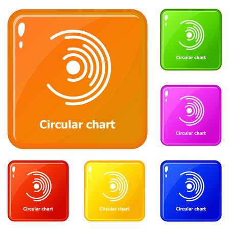 Circular chart icons set vector color