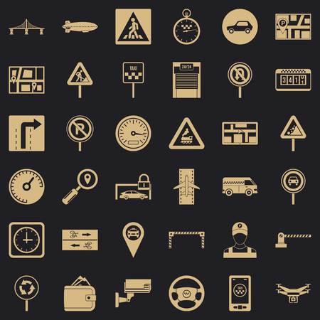 Hard traffic icons set, simple style Vettoriali