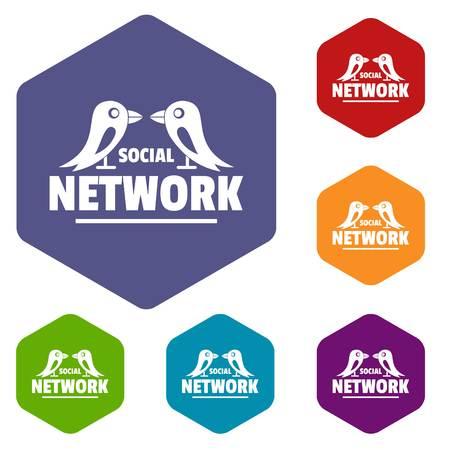 Bird social network icons vector hexahedron