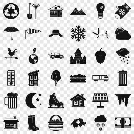 Nature house icons set, simple style Stock Illustratie