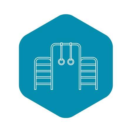 Gymnastics rings and ladder icon. Outline illustration of gymnastics rings and ladder vector icon for web Ilustração