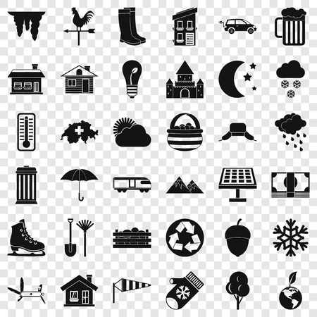 Country life icons set, simple style