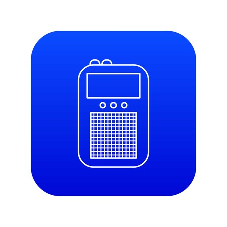 Portable radio icon blue vector isolated on white background