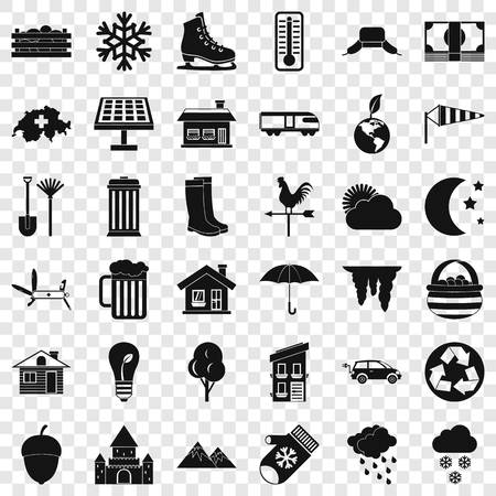 Nature life icons set. Simple style of 36 nature life vector icons for web for any design