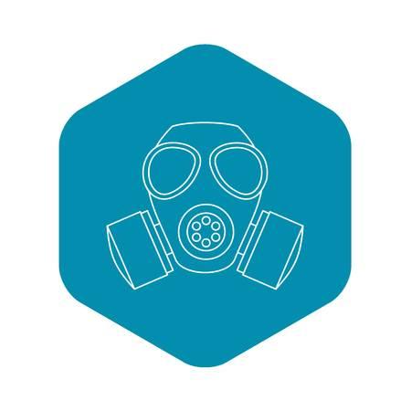 Icono de máscara de gas. Ilustración del esquema del icono de vector de máscara de gas para web
