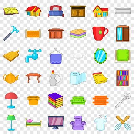 Big house icons set, cartoon style