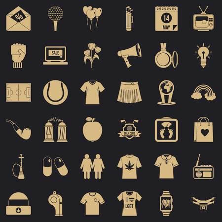Man polo icons set, simple style Illustration