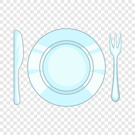 Plate with knife and fork icon in cartoon style isolated on background for any web design