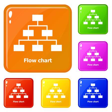 Flow chart icons set vector color Çizim