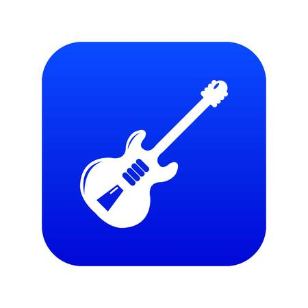 Electric guitar icon blue vector isolated on white background