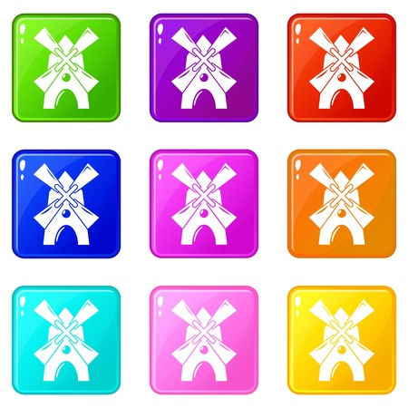 Windmill icons set 9 color collection isolated on white for any design