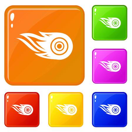 Wheel fire icons set collection vector 6 color isolated on white background